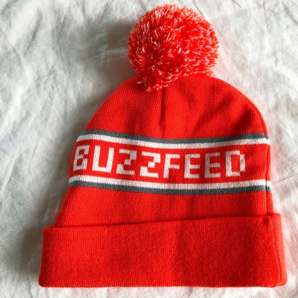 12e09fe0980 Buzzfeed Pom Pom Ski Hat Bright Orange